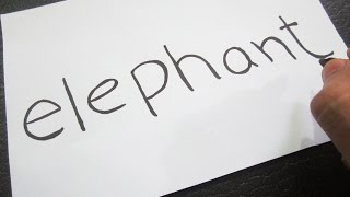 How to turn words ELEPHANT into a Cartoon ! Learn drawing art on paper for kids