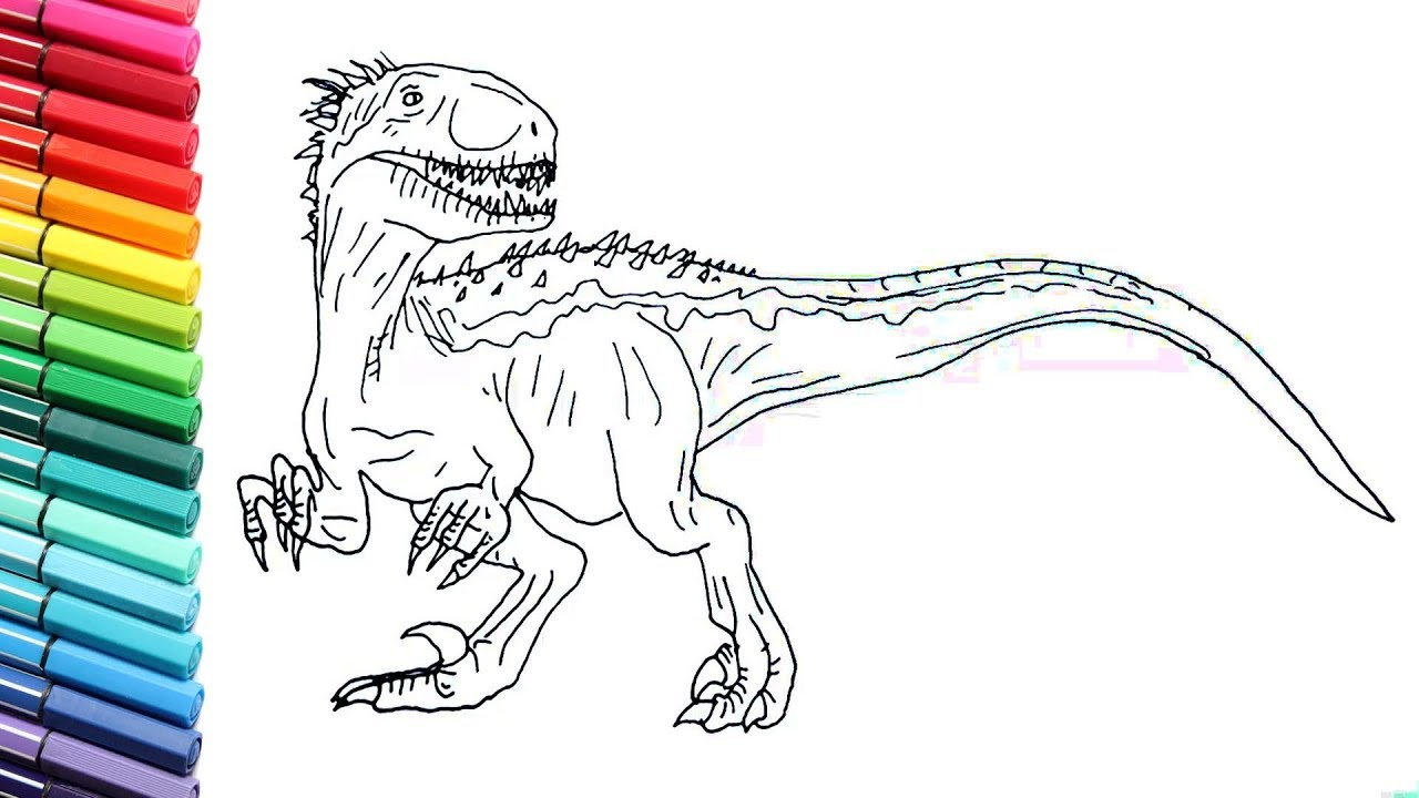 indoraptor coloring pages Drawing and Coloring Indoraptor From Jurassic World   How to Draw  indoraptor coloring pages