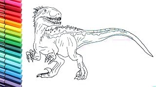 Drawing and Coloring Indoraptor From Jurassic World - How to Draw Dinosaurs for Childrens