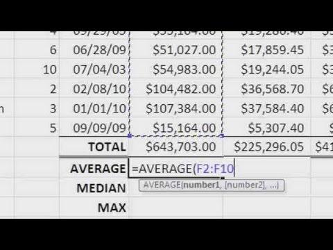 SUM, AVERAGE, MEDIAN, MAX & MIN | Microsoft Excel