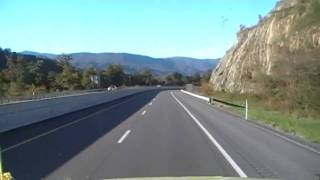 truck driving through the smoky mountains