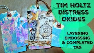Tim Holtz Distress Oxide Play Layering Embossing Completed Tag