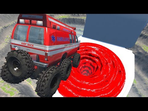 649f3395915f Leap Of Death Car Jumps   Falls Into Giant Lava Vortex Toilet BeamNG DRIVE ( jumping