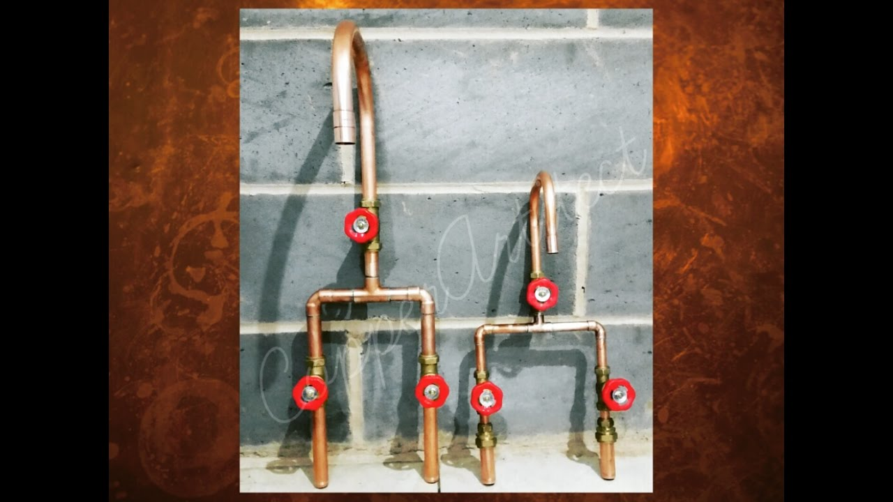 Rose Gold Tap Mixer Set With Red Handles
