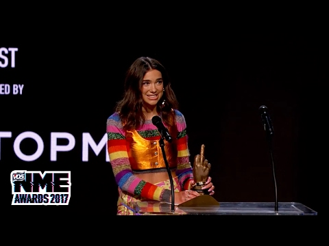 Dua Lipa wins Best New Artist at the VO5 NME Awards 2017