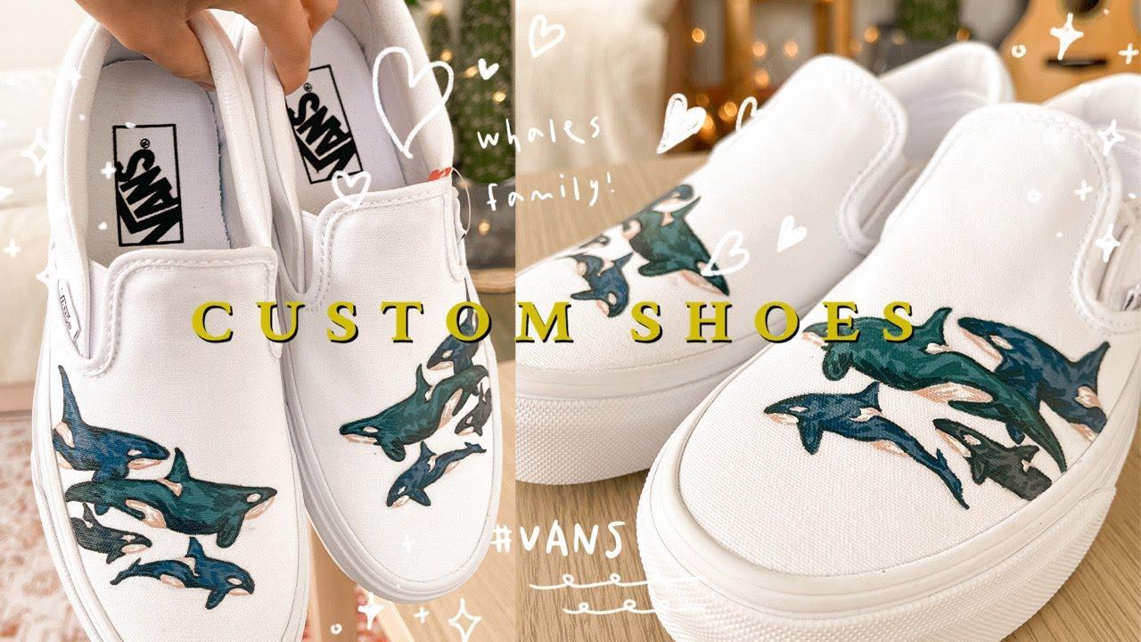 [Custom Shoes畫鞋系列] Painting Vans// 客人希望有family的感覺💙 於是幫她畫了這個鯨魚家族🐋☁️ (acrylic paint) |onki