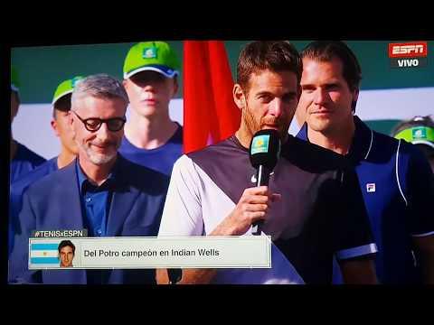 Discurso y coronación de Juan Martín Del Potro (contra Roger) - Masters 1000 ATP - Indian wells 2018