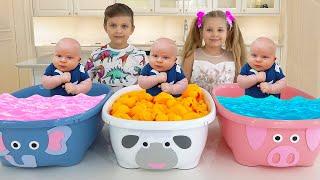 Diana와 Roma가 Oliver 색상을 가르칩니다.   유아 학습 비디오