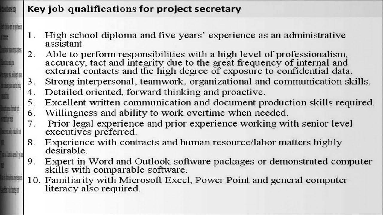 Project secretary job description - YouTube