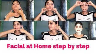 How to do Facial at Home Step by step   flawless glowing skin at home  GiveawayWeek   Rinkal soni