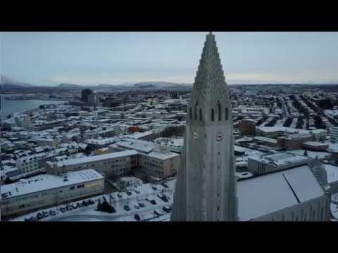 Drone Footage at Reykjavik's Hallgrimskirkja Church in Iceland