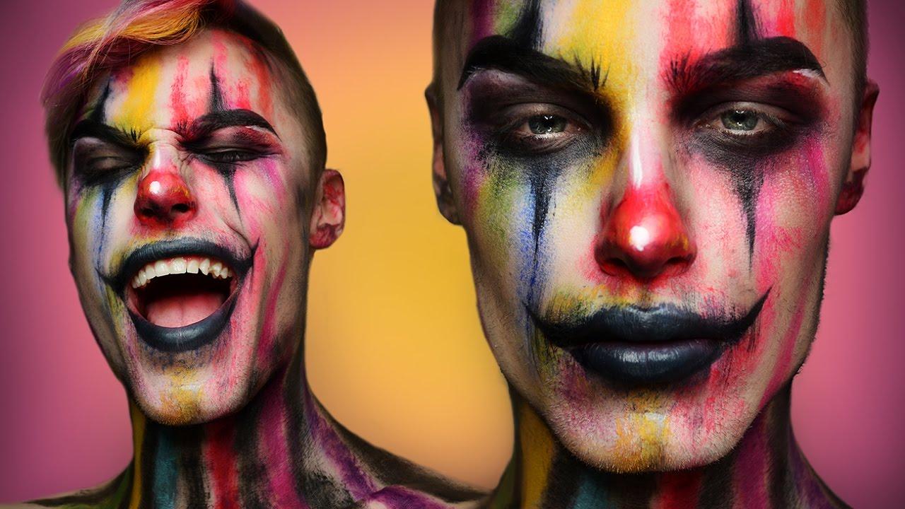 Creepy Colorful Clown - Halloween Makeup Tutorial - YouTube