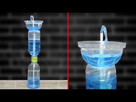 น้ำพุไม่ใช้ไฟฟ้า ทำจากขวดน้ำ แบบที่