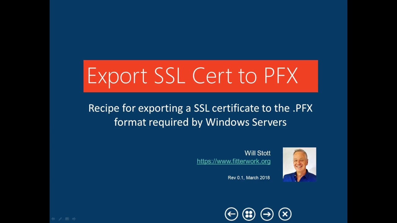 Fitterwork Export Ssl Cert To Pfx 0 Youtube