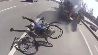 Cyclist EXTREME close call vs Semi Trailer Truck!