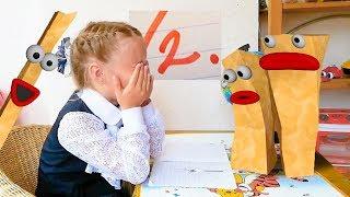 Картошки мешают Настеньке сделать домашку - Готовим уроки вместе - видео анимация для детей