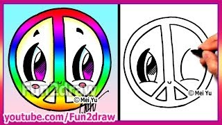 Rainbow Peace Sign - How to Draw Easy Cartoons - Fun2draw drawings