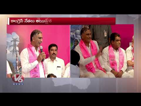 Minister Harish Rao Speech | Andole Constituency Congress Leaders & Activists Joins TRS Party | V6