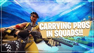 CARRYING PROS IN SQUADS!! • Fortnite Gameplay ft Symfuhnny, Myth & Pokimane!
