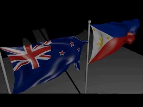 New Zealand and Philippines Flags in Blender