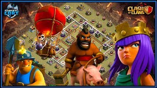 CAN'T STOP THE QUEEN CHARGE! HOGS, MINERS & LAVALOON! CLASH OF CLANS   TH11   TH10