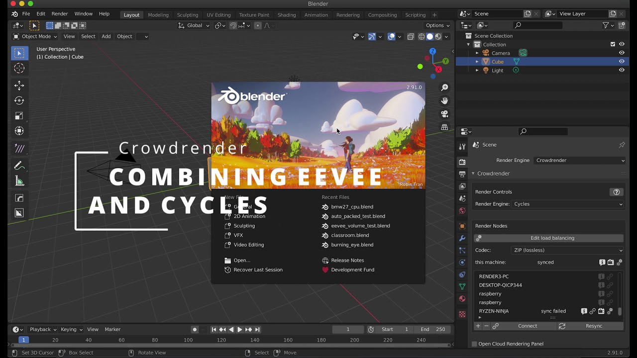 Combining Eevee and cycles with Crowdrender