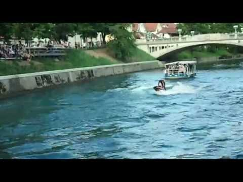 Jet jumps on river Ljubljanica, Ljubljana, Slovenia