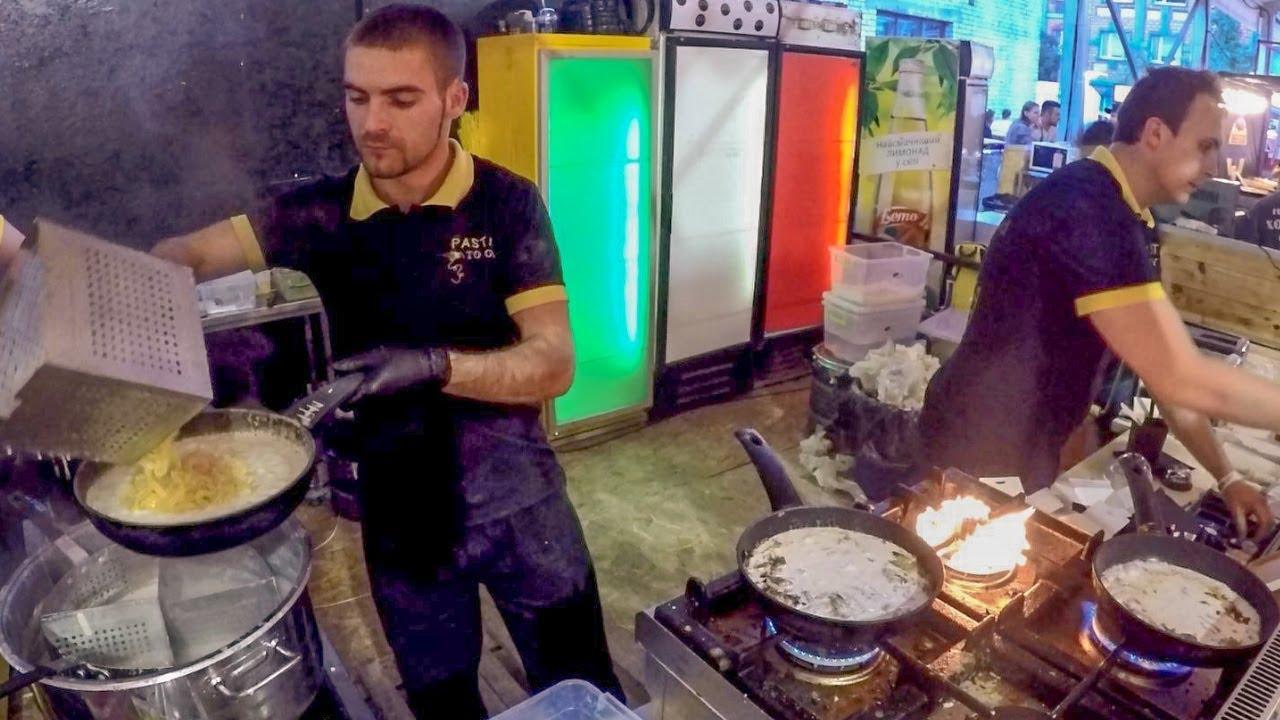Handmade Italian Pasta Cooking. Road Meals in Kiev, Ukraine