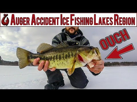 Auger accident! Ice fishing the lakes region of NH. BASS, perch, and pickerel!