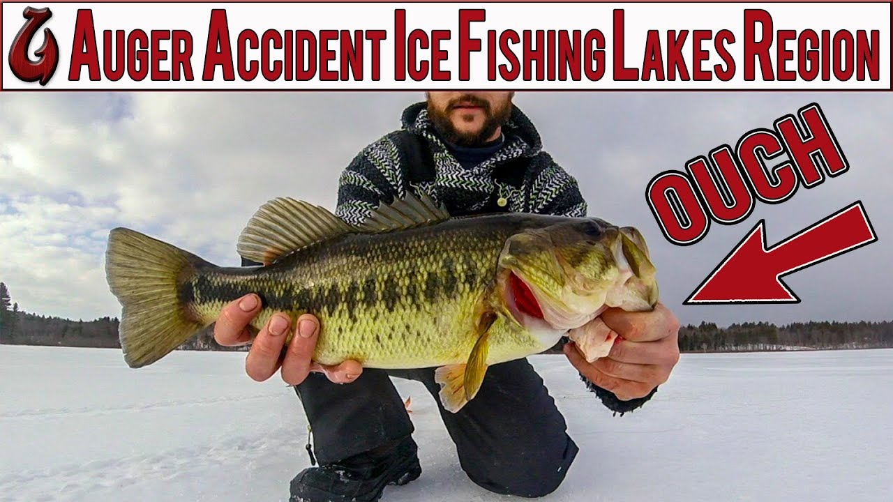 Auger accident ice fishing the lakes region of nh for big for Ice fishing nh