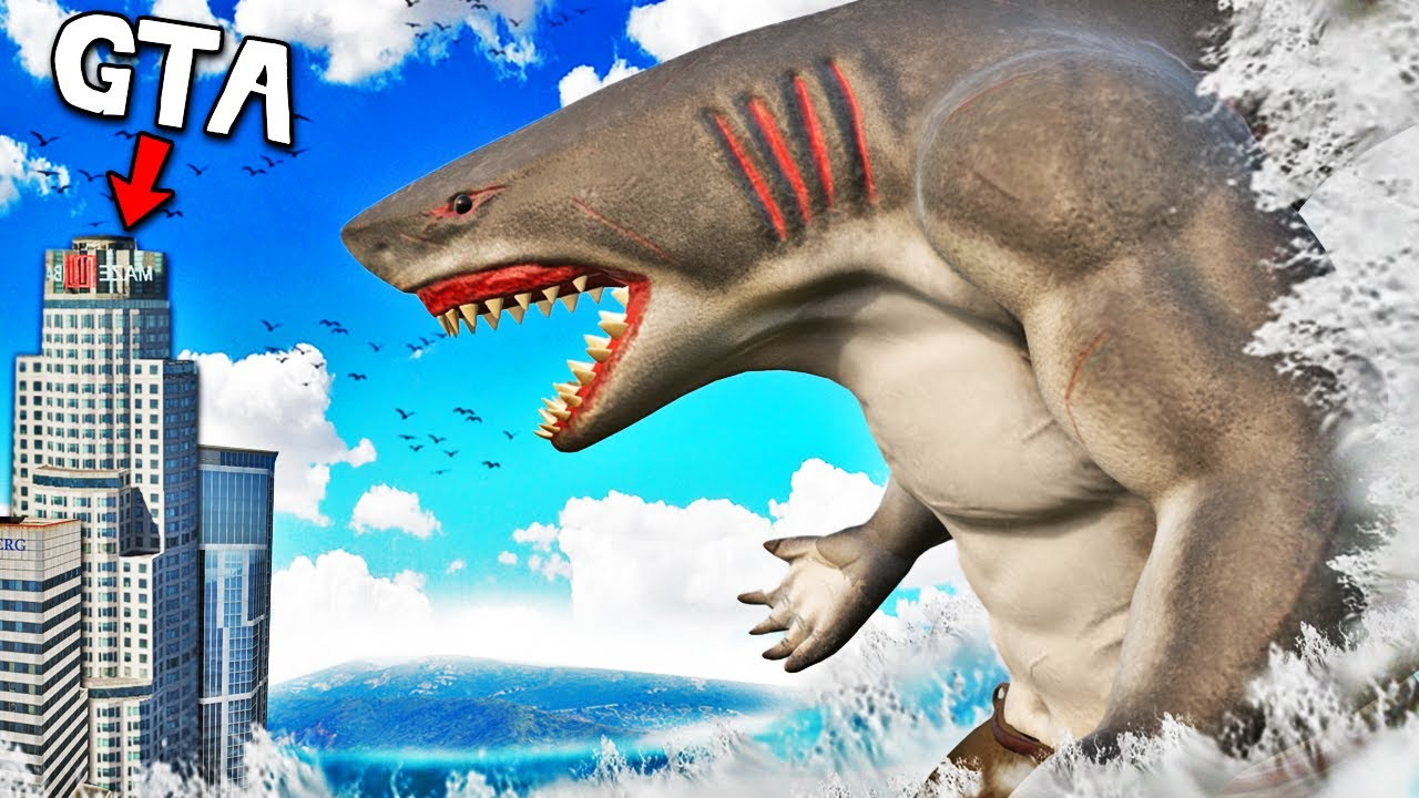 HUMAN SHARK Becomes a GIANT In GTA 5 (Shark Attack)