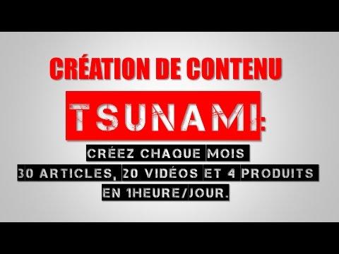 Creation De Contenu TSUNAMI: Créez 30 Articles,20 Vidéos,4 Produits Chaque Mois, en 1H/J!