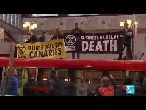 Climate protests continue in London, leading to disruption in financial district