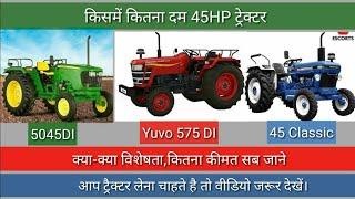 45 HP ट्रैक्टर,विशेषता, कीमत। 45HP Tractor, Full Details,price.5045di,yuvo 575 DI,45classic.