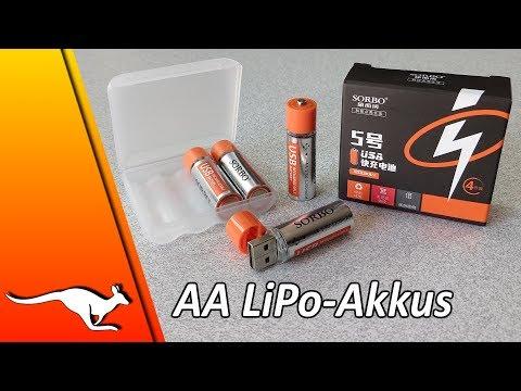 Test SORBO AA Lithium-Polymer-Akku Vs. Panasonic Eneloop | China-Shopping