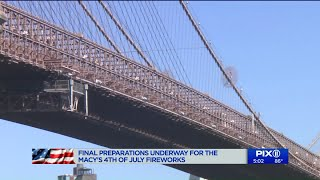 Final preperations underway for Macy`s Fourth of July Fireworks show