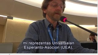 Interveno de Stefano Keller UEA, 9a sesio de EMRIP, UN, Ĝenevo, 13a de julio 2016