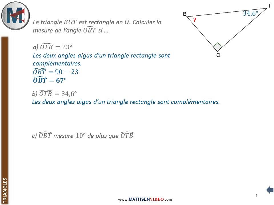 Exercice somme d 39 angles dans un triangle rectangle youtube - Comment couper les plinthes dans les angles ...