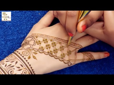 Navratri, Dandiya, Garba Special Mehndi Design for Back Hands @ ekunji #053