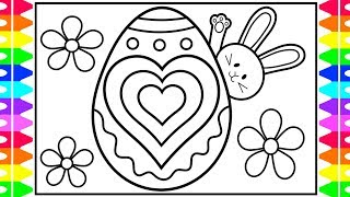 How to Draw Easter Bunny | Easter Egg Designs Hearts Coloring Page | Easter Coloring Pages for Kids