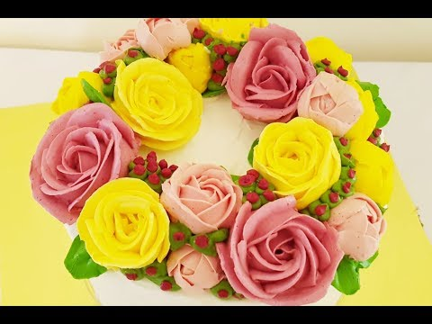КРЕМ .(Белково-масляный).Кремовые цветы.Buttercream Flowers.