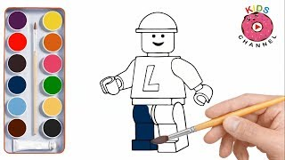 How to draw Lego Human | Coloring pages - Kids channel