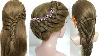3 cute hairstyles for long hair tutorial.
