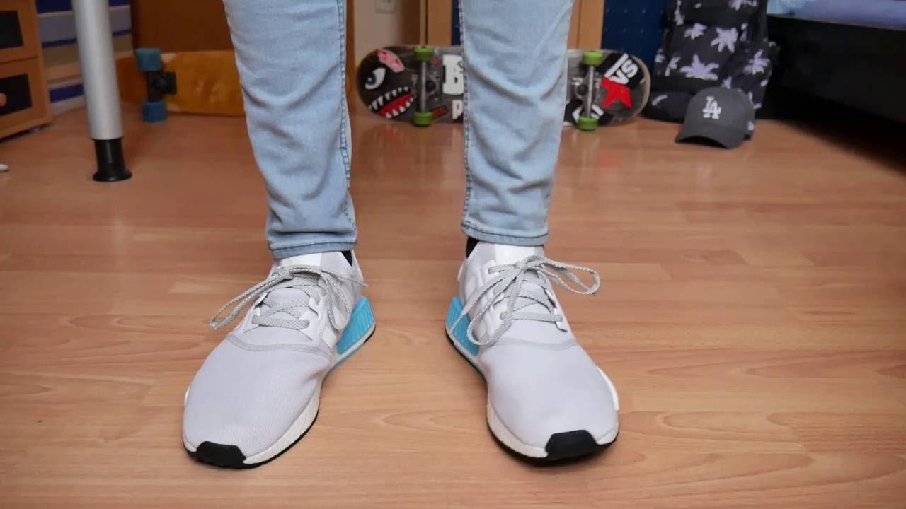 aab804711243b Adidas NMD R1 WHITE - On Feet - YouTube