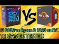 i3 8100 vs Ryzen 3 1200 vs OC - 12 Games Tested - Side by Side Comparison