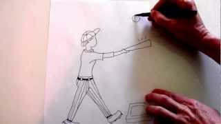 How to draw a simple drawing of a baseball game