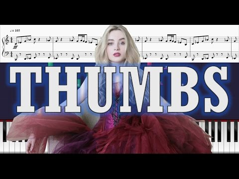 Sabrina Carpenter - Thumbs - Piano Tutorial w/ Sheets