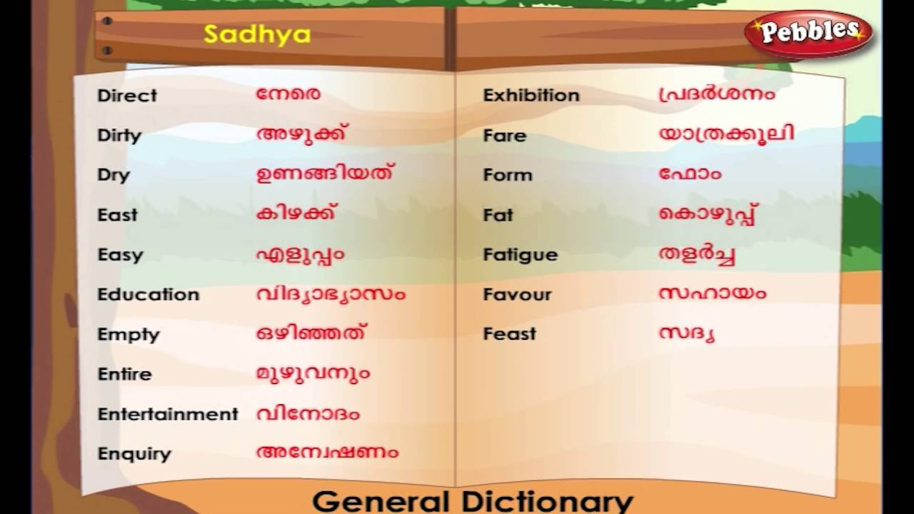 Learn Malayalam Through English Lesson 06 General Dictionary