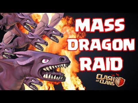Clash Of Clans MASS DRAGON RAID ( Dragon fire! New update)