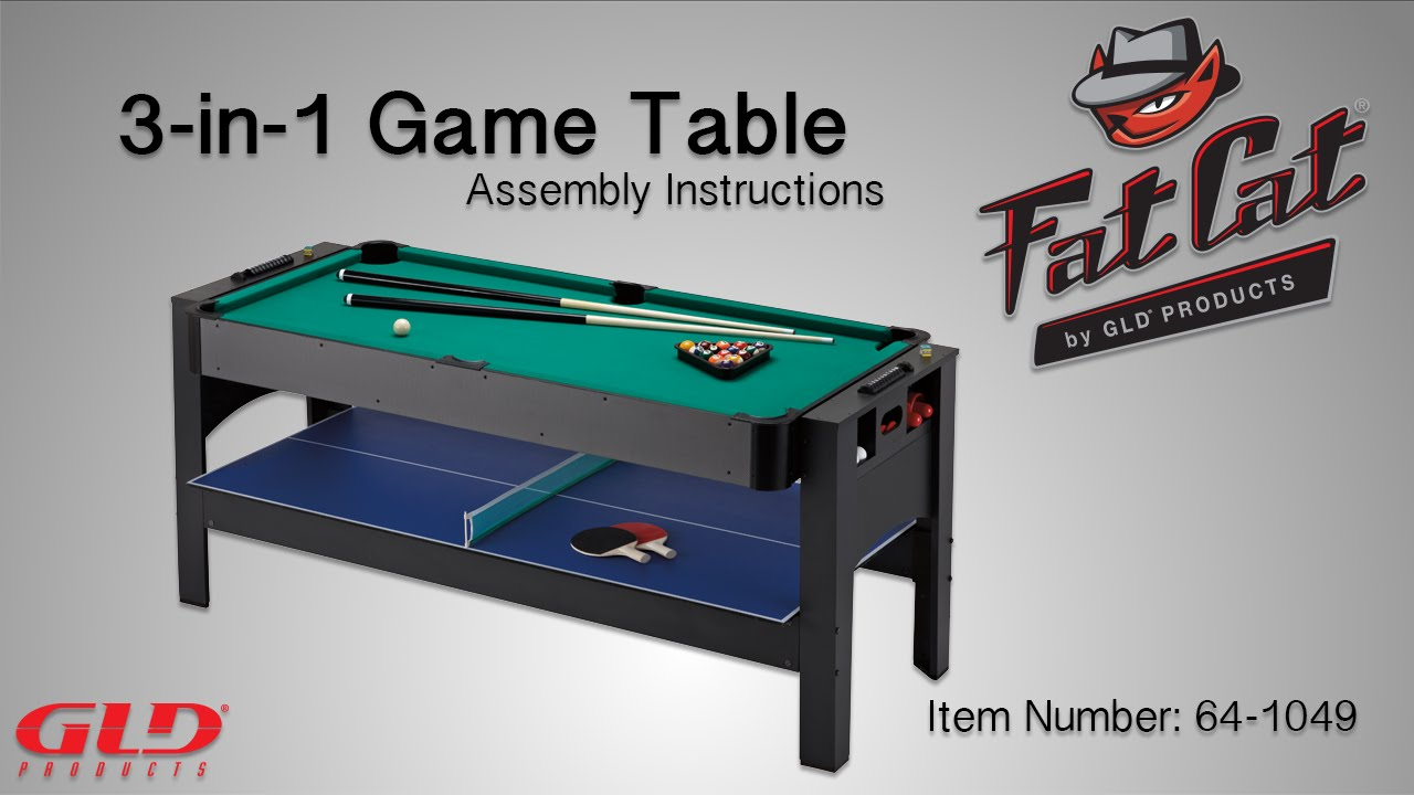 How To Fat Cat 3 In 1 Flip Game Table Assembly Instructions